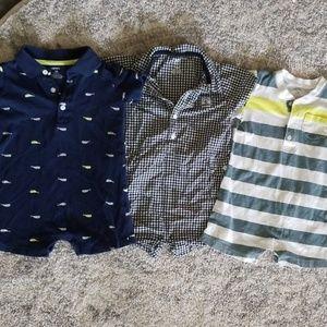 3 piece lot/set of 3 onsie rompers, boy 18 month